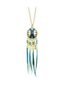 Lakeblue Dream Catcher Style Colorful Feather Pendant Necklace