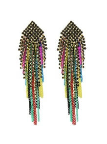 Latest Colorful Long Chain Drop Earrings