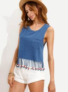 Blue Beads Fringe Hem Tank Top