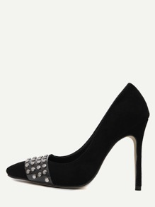 Black Faux Suede Pointed Toe Studded Pumps