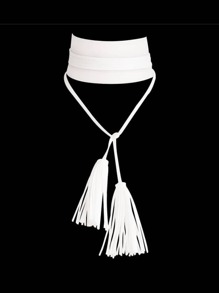 White Gothic Design Wide Pu Leather Choker Necklace With Long Tassel