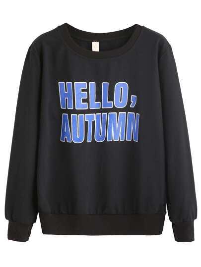 Black Letters Print Drop Shoulder Sweatshirt