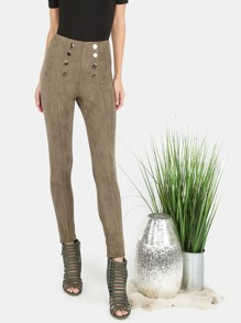 High Waisted Suede Button Skinny Pants OLIVE