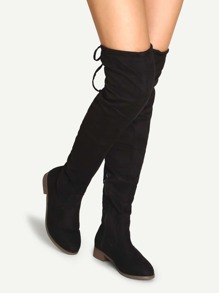 Black Faux Suede Over The Knee Zipper Boots
