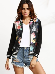 Black Floral Print Striped Hem Baseball Jacket