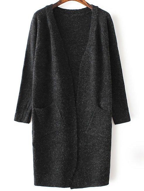 Black Collarless Ribbed Trim Long Cardigan With Pockets sweater160819235