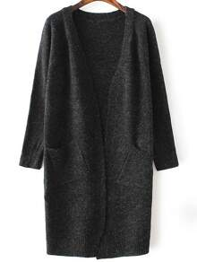 Black Collarless Ribbed Trim Long Cardigan With Pockets