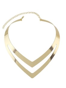 Gold Two Layers Statement Collar Necklace