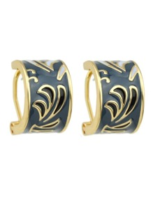 Darkblue Pattern Ethnic Hoop Earrings