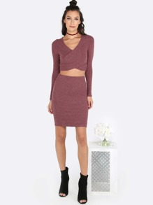 Knit Sleeved Wrap Top & Midi Skirt Set DARK MAUVE