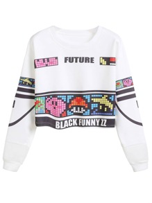 White Graphic Print Drop Shoulder Crop Sweatshirt
