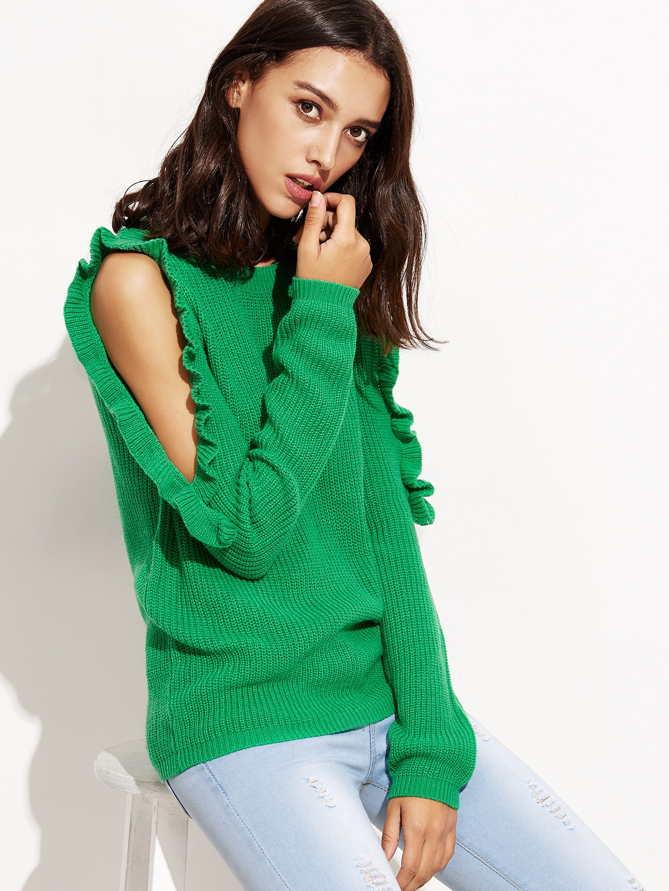 Green Open Shoulder Ruffle Pullover Sweater yellow open shoulder jersey sweater