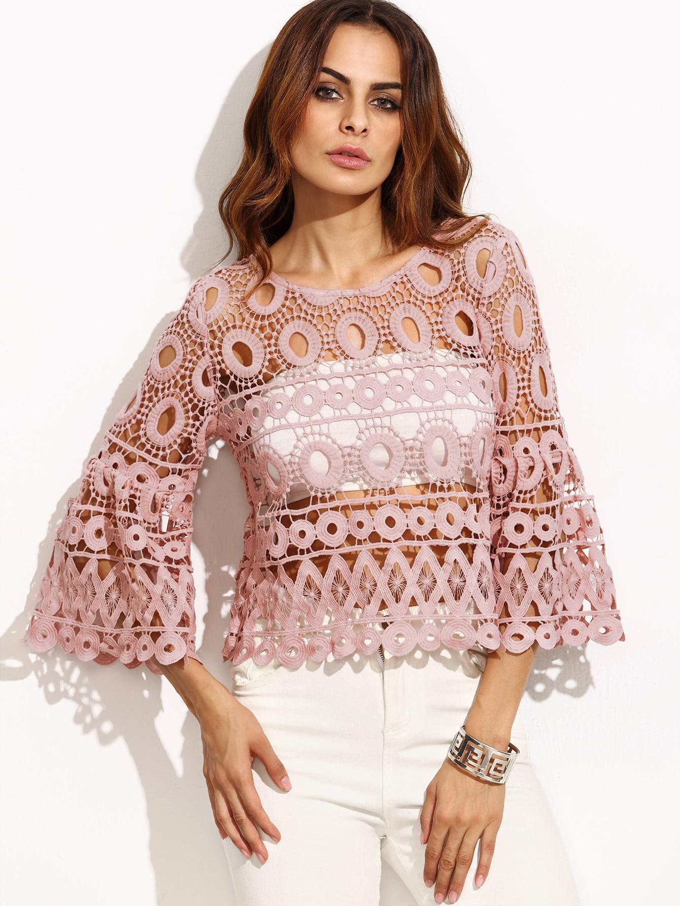 Фото Flute Sleeve Hollow Out Crochet Top. Купить с доставкой