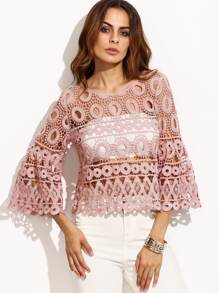 Pink Bell Sleeve Hollow Out Crochet Top