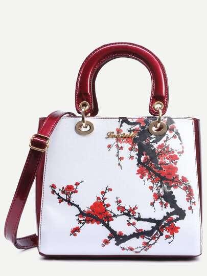 Contrast Flower Print Handbag With Strap