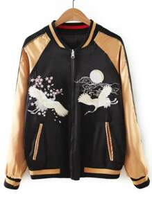 Gold Crane Embroidered Zipper Up Bomber Jacket