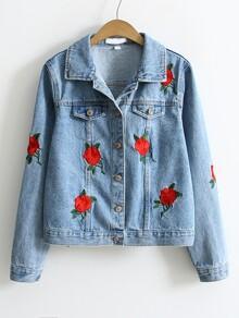 Blue Flower Embroidery Single Breasted Denim Jacket