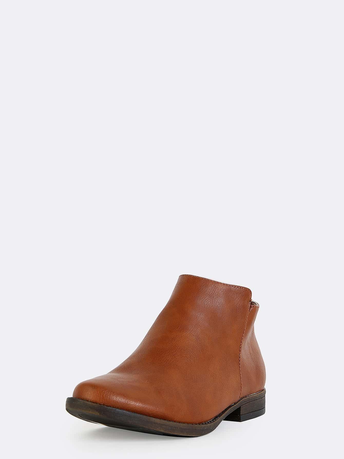low cut almond toe ankle boots chestnut shein sheinside