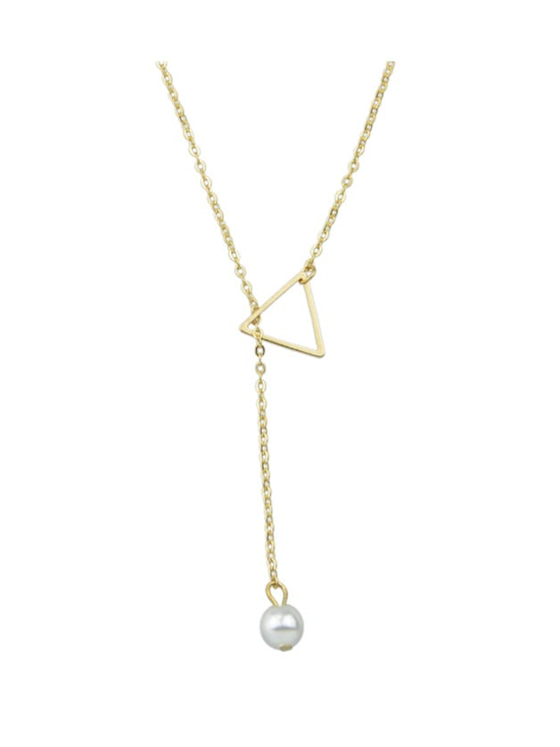 Gold Simple Imitation Pearl Adjustable Chain Necklace