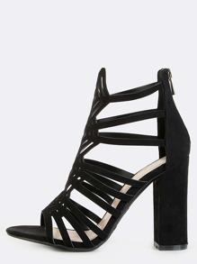 Open Toe Diamond Cut Out Chunky Heels BLACK