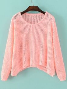 Pink Hollow Out Long Sleeve Batwing Sweater
