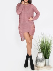 Pink Ripped Long Sleeve High Low Sweater