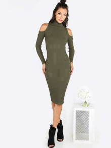 Turtleneck Sleeved Cold Shoulder Midi Dress OLIVE