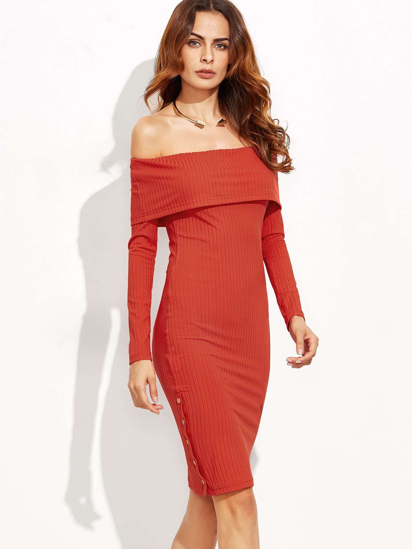 Red Foldover Off The Shoulder Button Side Ribbed Dress dress160831706