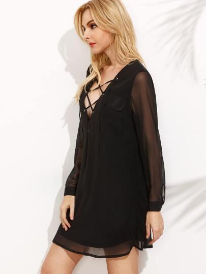 Black Eyelet Lace Up Long Sheer Sleeve Pocket Dress