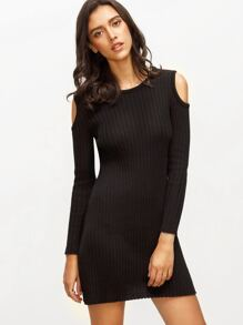 Black Knitted Cold Shoulder Long Sleeve Sheath Dress