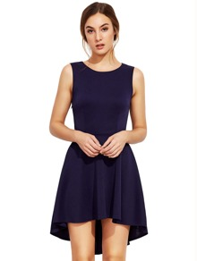 Navy Sleeveless Asymmetric Hem Flare Dress