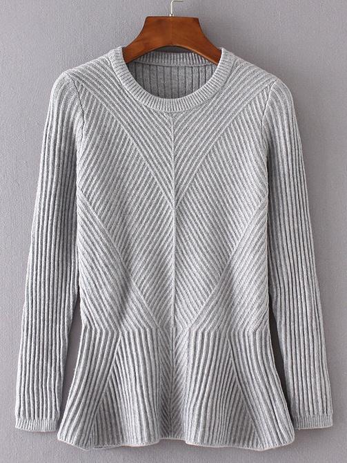 Grey Ruffle Hem Ribbed Sweater sweater160813201