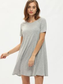 Grey Short Sleeve Round Neck Shift Dress