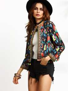 Black Tribal Print Tassel Trim Blazer With Embroidered Tape Detail