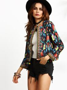 Colorful Tassel Trim Tribal Print Tape Blazer