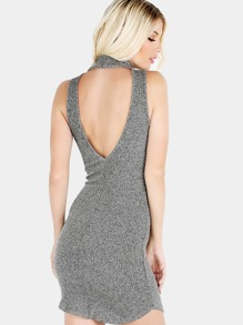 Low Back Turtleneck Knit Dress CHARCOAL