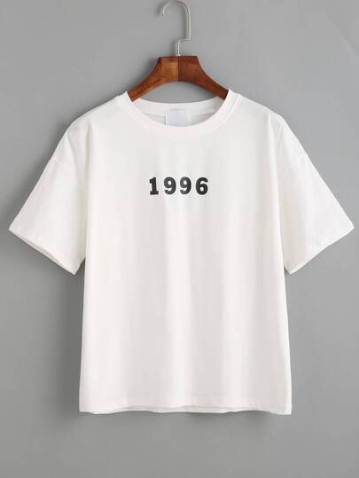 White Number And Slogan Print Drop Shoulder T-shirt