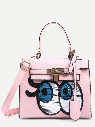 Pink Locked Strap Front Sequin Eye Satchel Bag