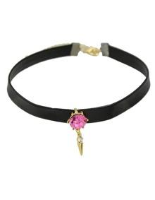Hotpink Pu Leather Choker Necklace
