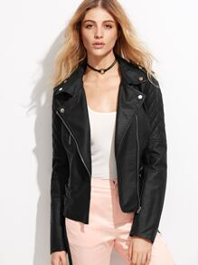 Black Oblique Zipper Quilted Sleeve PU Jacket With Buckle
