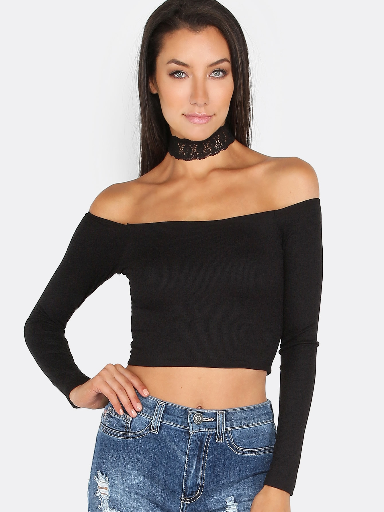 Off The Shoulder Crop Top BLACK mmctop-66128ltj-black