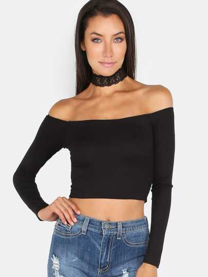 Bardot Neckline Crop Top BLACK
