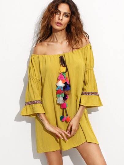 Yellow Off The Shoulder Embroidered Tape Detail Fringe Dress
