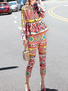 Multicolor Peplum Floral Top With Pockets Pants