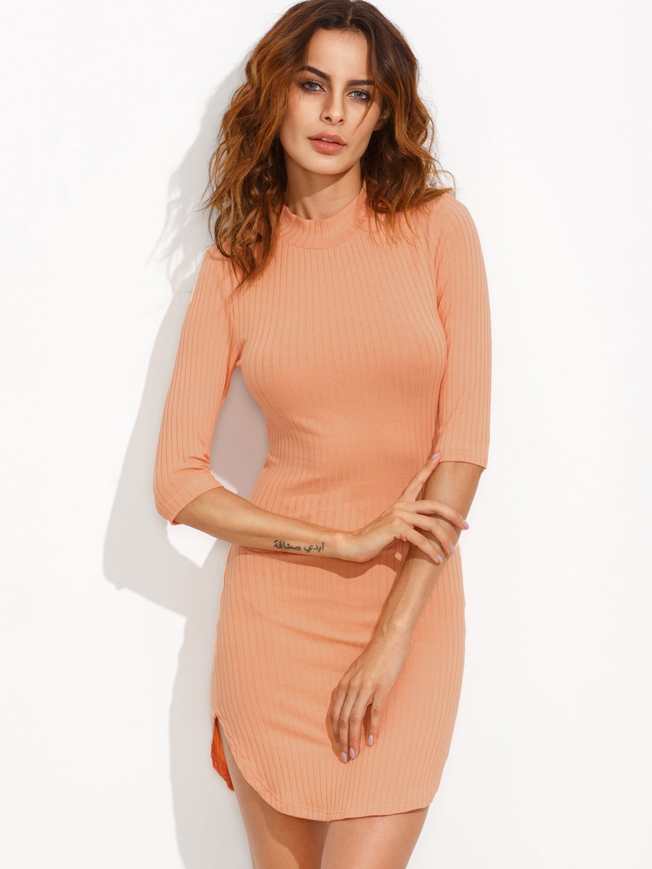 Orange Mock Neck Curved Hem Ribbed Sheath Dress dress160811707