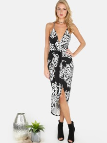 Floral Asymmetrical Crossback Cami Dress BLACK