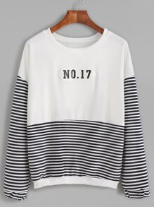 Stripe Block Number Patch Sweatshirt