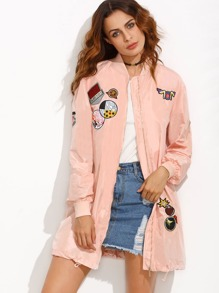 Applique Detail Drawstring Hem Jacket With Zip Sleeve