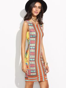 Tribal Print Slit Back Sheath Dress