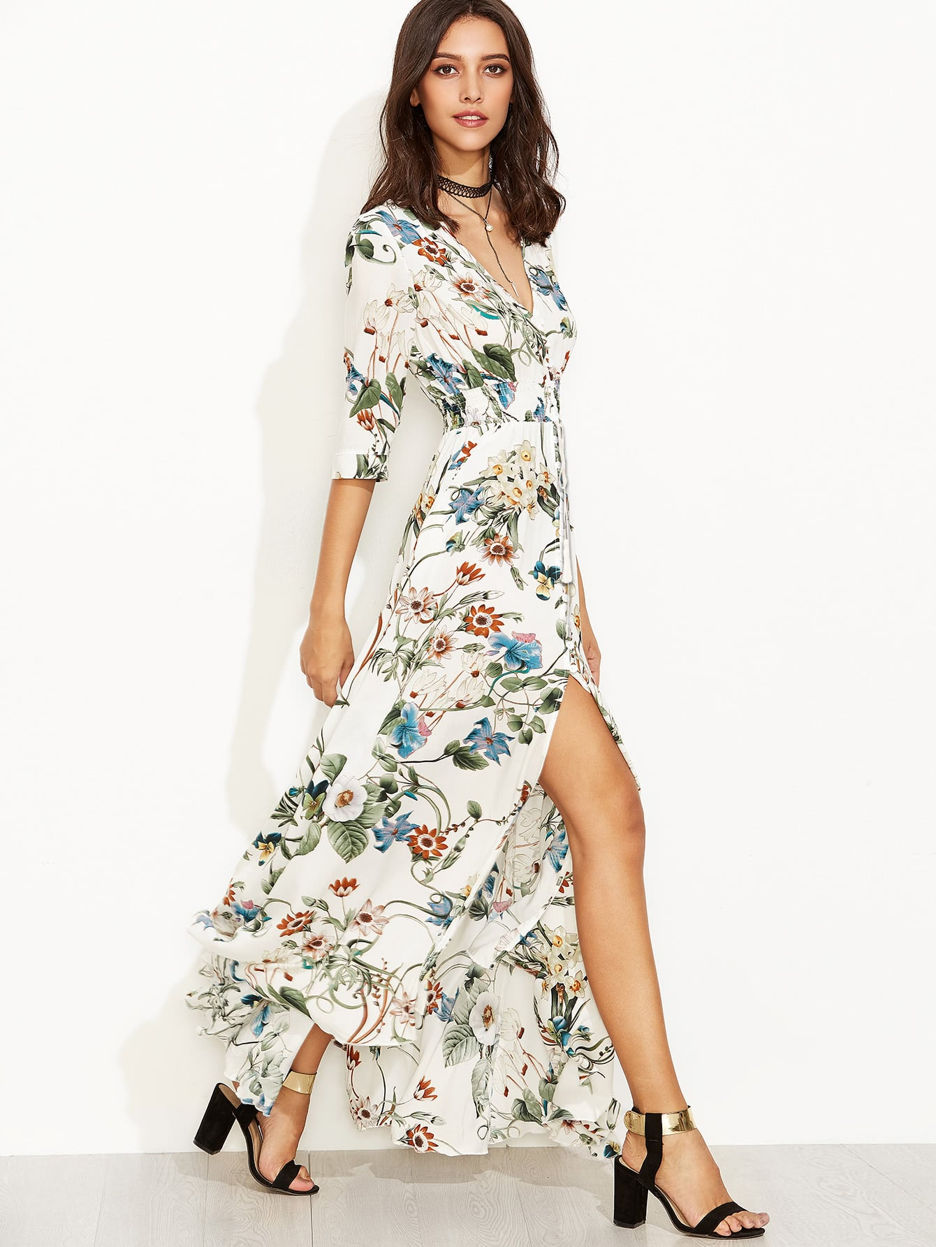 Фото Plunge Split Front Elbow Sleeve Floral Print Dress. Купить с доставкой
